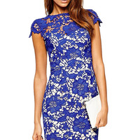 Blue Lace Overlay Short Sleeve Pencil Mini Dress