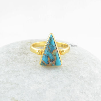 Copper Turquoise Ring-Blue Copper Turquoise Triangle 10x15mm 925 Sterling Silver with 18k Gold Plated Ring-Gemstone Ring-Anniversary Gift