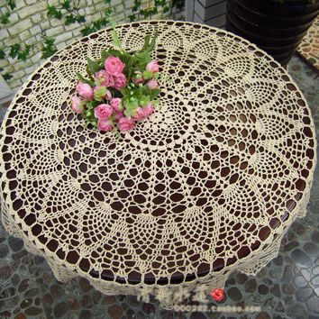 32'' White Round Floral Hand Crochet Table Cloth