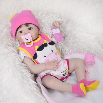 23'' Full Silicone Vinyl Reborn Baby Girl Realistic Alive Newborn Babies Doll White Skin Ethnic bebe Toddler For kids Xmas Gifts