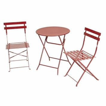 Red 3-Piece Folding Bistro-Style Table and Chairs Set