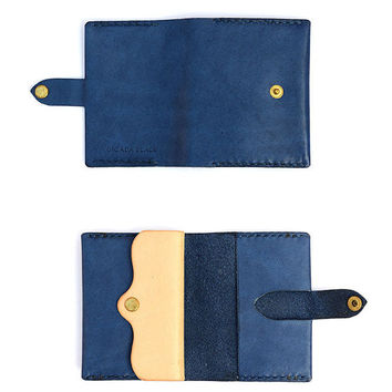 Retro Blue Leather Wallet for Men, Navy Small Coin Purse, Mens Slim Leather Wallet