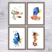 Nemo Disney, Set of 4, Finding Nemo, Nursery poster, Turtle Squirt, Sea horse Sheldon, Dori fish, Art nautical animal art, Kids room, V23