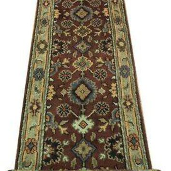 Brownish Red New Rug 2' 6'' x 16' Runner Maroon Mahal Handmade Rug