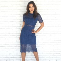 Vintage Lace Midi Dress in Navy