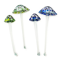RECYCLED GLASS GARDEN TOADSTOOLS | Stephen Kitras, Outdoor Sculpture, Mushroom, Storybook, Magical, Whimsical, Enchanted Forest | UncommonGoods