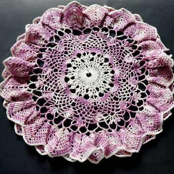 "Vintage Doily, Hand Crocheted Doily, 13.5"" Round Doily, Lavender Doily, Medium Doily,Purple Table Topper, Crochet Centerpiece,Vintage Linens"