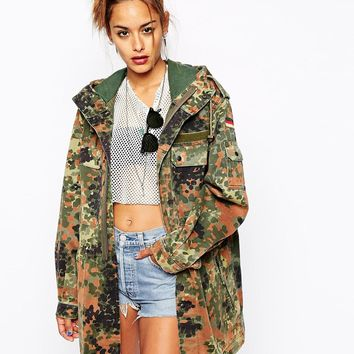 Milk It Vintage Camo Hooded Parka Coat