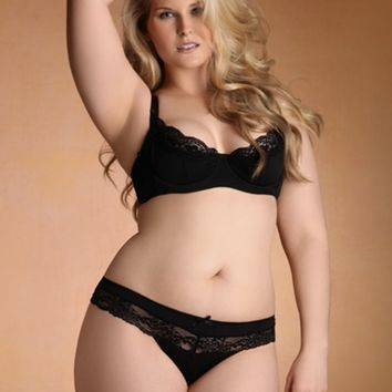 Plus Size Lingerie | Plus Size Panties | Marilyn Satin And Lace Thong | Hips & Curves