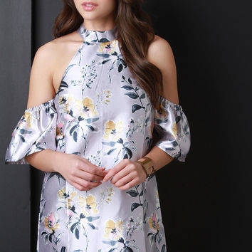 Retro Satin Floral Shift Dress