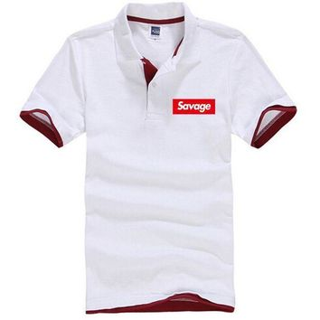 ESBON ONE A CAKE Savages Men Hip Hop polo Summer sell like hot Men polo shirts Fear Of God Red Letter Printed Cotton Tops polo shirt