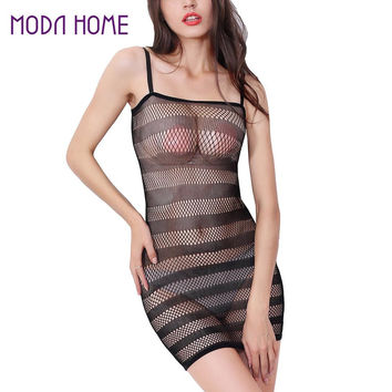 Sexy Lingerie Sleepwear Women Sexy Nightwear Stretch Underwear Stripe Nightie See Through Nightwear SM6