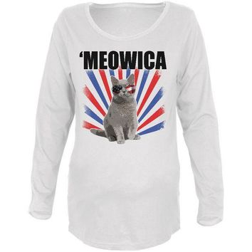 CREYCY8 4th Of July Meowica America Patriot Cat Maternity Soft Long Sleeve T Shirt