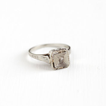 Antique 14k White Gold Art Deco Solitaire Diamond Ring - 1920s 1930s Size 6 Vintage Filigree Fine Engagement Chased Square Bridal Jewelry