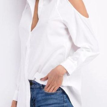 Maddie Cold Shoulder Button Down Womens Top