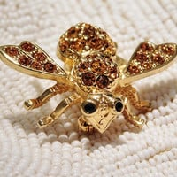 Vintage Joan Rivers Bumble Bee Brooch Pave Rhinestone Swarovski Crystals Designer Couture Jewelry Animal Insect Pin by Joan Rivers