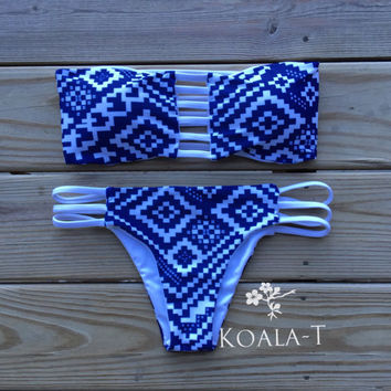 Reversible Strap Back White & Navy Tribal Print by KoalaTFashion
