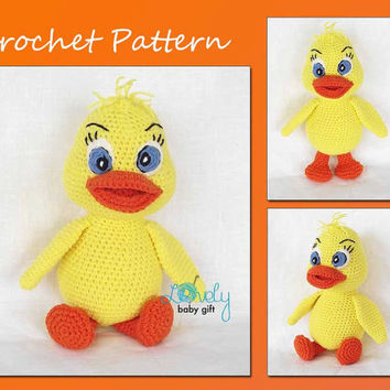 Amigurumi Crochet Pattern - Crochet Animal Pattern - Stuffed Yellow Duck - Pdf, CP-141