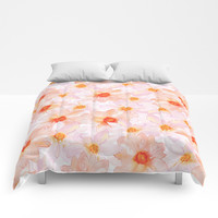 orange and pink watercolor dahlias Comforters by Sylvia Cook Photography