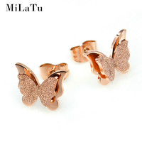 MiLaTu Stainless Steel Earrings For Women Child Rose Gold Color Frosted Double Butterfly Earrings Studs Best Jewelry Gift E034G