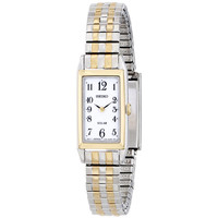 Seiko SUP242 Women's Solar White Dial Two Tone Steel Expansion Bracelet Watch