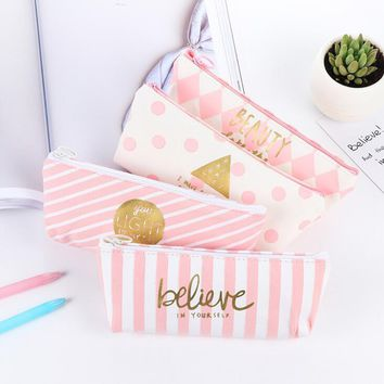 Frash Crystal Pink Grid Believe Canvas Large Capacity Pencil Bag Stationery Storage Organizer Case School Supply
