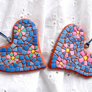 EggShell Mosaic Polymer Clay Jewelry Double-Sided Pendants Gift Idea for Girl Handmade Jewelry Decoration Blue Green Pink gift for MOM