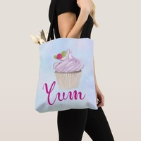 Delicious Pink Cupcake Berry on Top Yum! Tote Bag