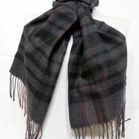 Black and Gray Scarf, Black and Gray Men's Scarf, Black and Gray Wool and Chasmere Men's Scarf - KR1411066