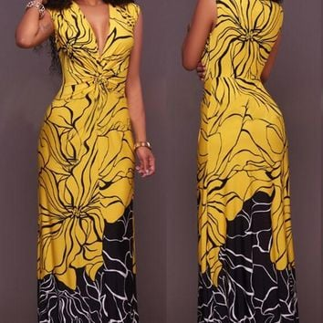Yellow-Black Patchwork Flowers Print Draped Cap Sleeve Cocktail Party Maxi Dress