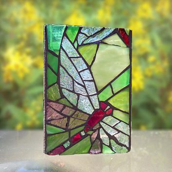 Stained Glass Dragonfly, Green Glass Mosaic Dragonfly Candle Holder / Vase, Blue Dragonfly
