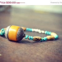 ON SALE ZYANYA Turquoise Jasper Tribal Native Hand Beaded Bracelet