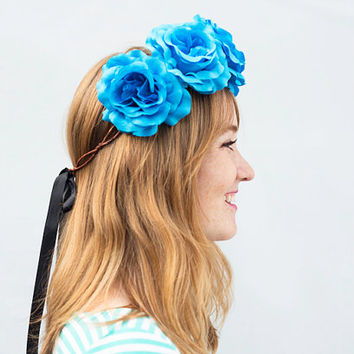 Turquoise Rose Crown - Blue Flower Crown, Coachella, Festival Wear, Floral Crown, Rose Headband, Rose Crown, Festival Fashion, Turquoise