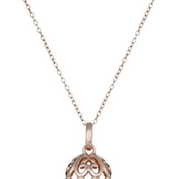 Rose Gold-Plated Sterling Silver Filigree Ball Pendant Necklace, 18""
