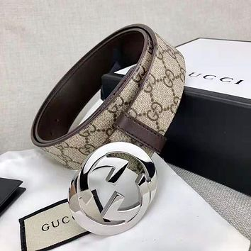 GUCCI Retro Fashion Woman Men GG Letter Smooth Buckle Belt Leather Belt Width 3.8 CM With Box