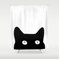 Black Cat Shower Curtain by Good Sense | Society6