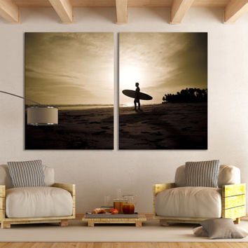 Surfing Wall Art Ocean Surfing Home Decor Photography / Tropical Beach House Artwork Sports Canvas Print / Water Sport Silhouette Wall Art