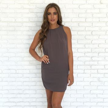 Hopeless Romantic Shift Dress In Charcoal Grey