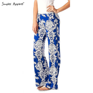 Simplee apparel Autumn Exuma casual palazzo pants flare boho female elastic high waist pants baggy Women loose preppy trousers