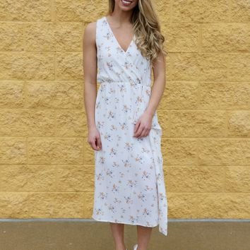 Falling For Floral- Sleeveless Wrap Midi Dress