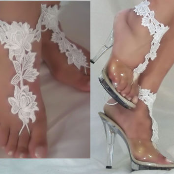 Beautiful White Lace Barefoot Sandals, Bride Beach Sandals, Bottomless Sandals, Beach Wedding Sandals, White Flower Lace Barefoot Sandals