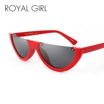 ROYAL GIRL Trendy Half Frame Rimless Flat Top Sunglasses Women 2017 Fashion Clear Glasses Brand Designer For Female Oculos ss189