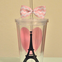 Paris Acrylic Tumbler. Paris love 16 ounce cups.