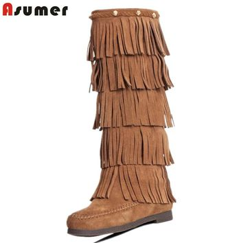 Asumer Quality women tassel boots fashion nubuck genuine leather boots flat heel brand winter boots round toe knee high boots