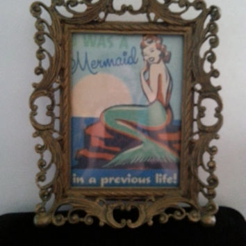 On Sale I Was A Mermaid Picture ** Antique Art Deco Ornate Frame ** Collectible Vintage Home Decor 1940's