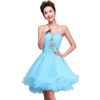 Fashion Plaza Homecoming Evening Cocktail Party Crystal Mini Short Dress D0131 (US2, Baby Blue)