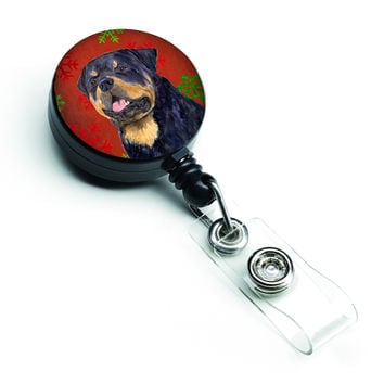 Rottweiler Red and Green Snowflakes Holiday Christmas Retractable Badge Reel SS4731BR
