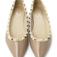 Nude Ballet Flats with Gold Metallic Pyramid Stud Detail
