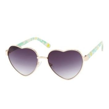 Turquoise Floral Print  Heart-Shaped Sunglasses by Charlotte Russe