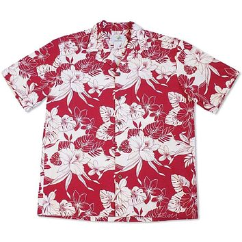Orchid Blast Red Hawaiian Cotton Shirt